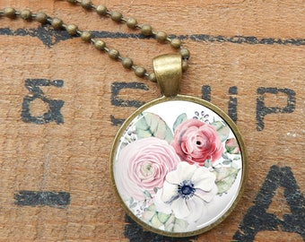 Pink Rose Pendant, Red Rose Glass Necklace, Watercolor Roses Pendant, Floral Necklace, Rose Bouquet Glass Pendant Necklace