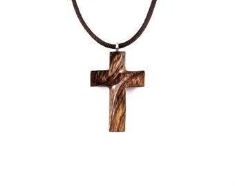 Wooden Cross Necklace, Wooden Cross Pendant, Mens Cross Necklace, Cross Necklace, Christian Jewelry, Wood Cross Pendant, Hand Carved Cross