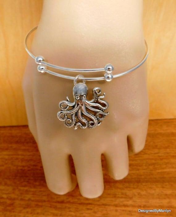 Sterling silver octopus bracelet, ocean theme jewelry,  octopus jewelry, beach theme jewelry