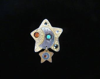 Moon & Stars! Antiqued goldtone and silvertone mixed metal brooch - rhinestones and articulated dangling star by Newpro-Free U.S.shipping