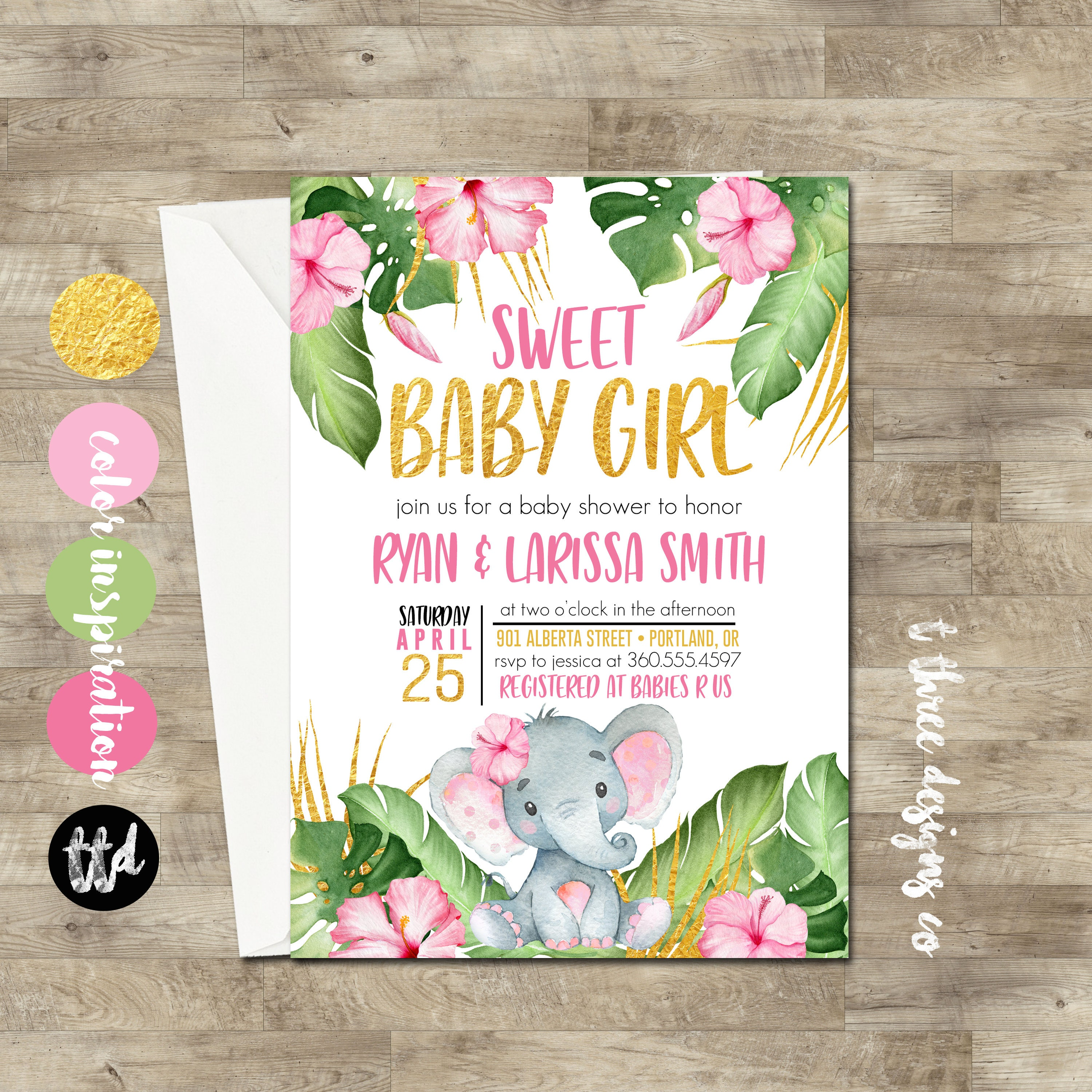 Girl Elephant Baby Shower Invitation, Pink and Gold Safari baby ...