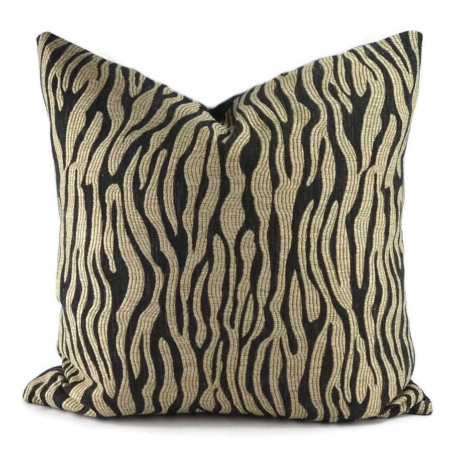 Black & Beige Throw Pillow Cover 20x20 Black and Tan Animal