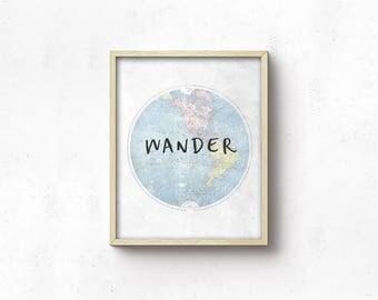 World Map PRINTABLE Wall Art - Nursery Art - Blue Grey - Nursery Decor - Wander - Boy Shower Gift - Boy Nursery - Playroom Decor - SKU:9437
