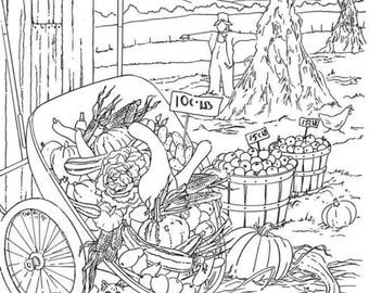 Adult Coloring Page Printable Farmer's Market on the Farm Digital Download