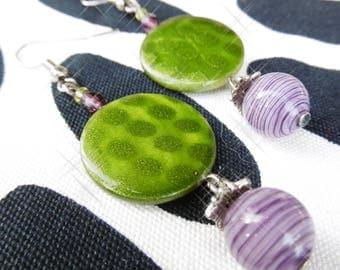Freshwater Pearl drop earrings, green and purple
