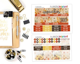 November Monthly Kit, Monthly Sticker Kit, November Monthly Planner Stickers, for use with ERIN CONDREN LIFEPLANNER™