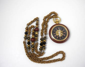 Mechanical wood Pocket Watch on Byzantine Chainmaile Necklace #9 Wood Prayer Beads & Swarovski