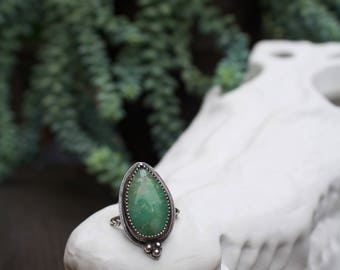 SIZE 6.5 Green Quartz Pear Shaped Sterling Silver Ring – Handmade Soldered Ring – Oxidized
