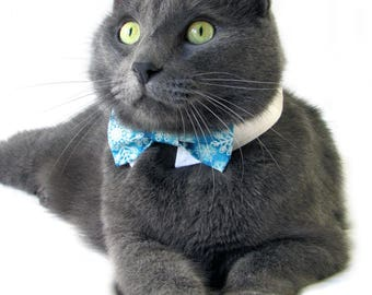 Teal Snowflake Bow Tie, Necktie, or Bow on a Shirt Style Collar for both Dogs & Cats