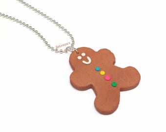Gingerbread man necklace (christmas necklace, polymer clay gingerbread man, christmas jewelry, ginger bread man necklace, christmas cookie)