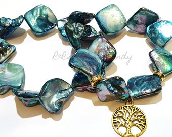 Turqoise Diamond Luster Shell Beaded Bracelet Set, Tree of Life Charm Bracelet, OOAK, Stretchy, Yoga, Cusotom Handmade Jewelry