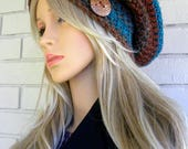 Winter Slouchy Beanie, Boho, Woman's winter Hat, Multi colored hat,  Southwestern Colors, Gift for Women, Gift for Teen Girl,