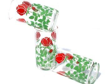 Retro Fruit Juice Glasses Set Mid Century Glassware Rose Set of Three
