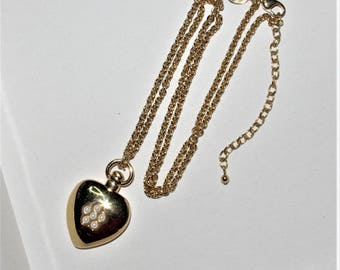 Joan Rivers Reversible Heart Necklace -  Gold Tone with Faux Pearls - S2267