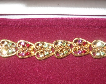 Jackie Kennedy Heart Bracelet - Gold Plated, Stones, Box and Certificate - Sz 7 or 8