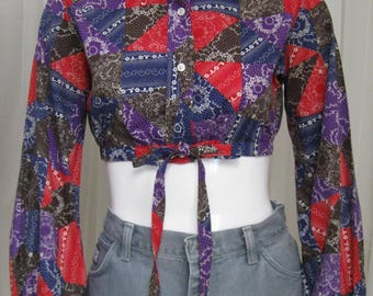 1960s-70s crop top, country print blouse, vintage shirt, Stuffed Shirt, size small