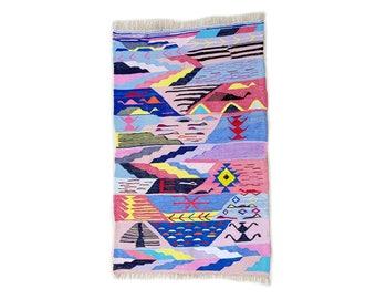 "71""X44"" Handwoven moroccan kilim rug, boucherouite rug, handmade rug, geometric pattern, colorful rug, chic ethnic, moroccan decor"