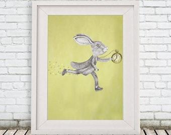 Bunny print, Rabbit Print, running rabbit, Art Poster, Kids Decor Drawing, gift for rabbit lovers, alice in wonderland