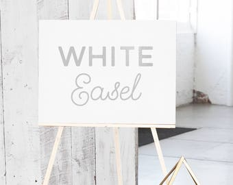 White Wedding Easel - White Wood Easel - Easel for Sign  - White Display Easel - White Floor Easel for Wedding Canvas