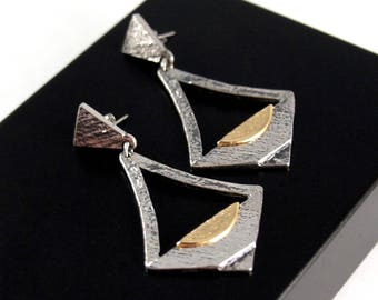 Darveau Earrings - Sunrise - Modernist Brutalist - Canada Quebec - Post Modern - Pierced Post - Signed