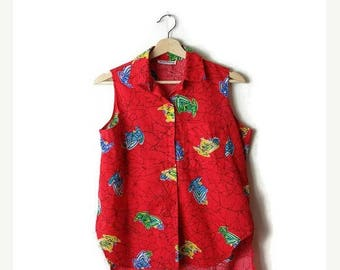 ON SALE Vintage Red x Bird Printed  Sleeveless Blouse from 80's*
