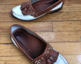 1980s Cole Haan Colorblock Tassel Loafers, Size 8N