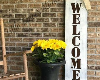 Large Wood Vertical Outdoor Welcome Sign for Front Door, Porch, Wedding, Porch Decor, Outside Sign, Wood Welcome Sign, Rustic Outdoor Decor