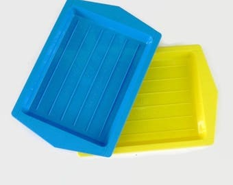 Vintage Kitchen Plastic Trays in blue and yellow, Bright Mid Century Serving Trays
