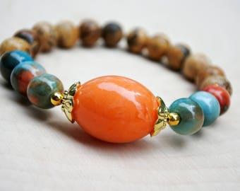 Natural Gemstone Bead Bracelet, Mala Bead, Mala Bracelet, Mala Bead Bracelet, Yoga Bracelet, Teen Gift, Women Gift, Yoga Buddhist Jewelry