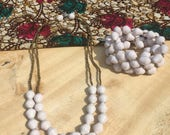 Double Strand White Paper Bead Necklace