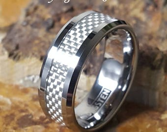 Tungsten Silver with White Carbon Fiber Inlay Comfort Fit Personalized Mens Womens Wedding Band Ring - Promise Ring FREE ENGRAVING AZ221