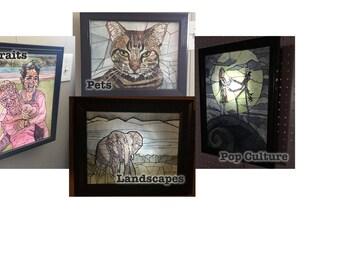 Custom Mosaic Watercolor Lightbox - Custom Art - Customizable Art