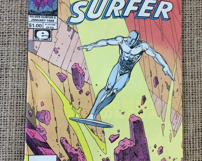 Silver Surfer comics Volume 1 Number 2 January 1989 direct editions,Super collectibles, Silver Surfer comic collection, comic book collector