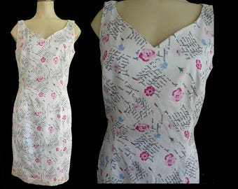 Escada dress sleeveless  Vtg 80s Cotton Floral Small Sz 10 French writing  text W. Germany
