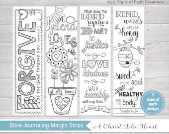 Bible Journaling Printable Margin Strips, Coloring Bible Templates, Scripture Bookmark, Proverbs 16, Micah 6, Proverbs 17, & Colossians 3