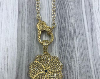 Gold Vermeil Chain Necklace with Pave Diamond Lobster Claw.  Pave Diamond Flower Pendant.