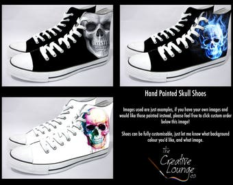 Hand Painted Shoes, Detailed Skull Shoes, Gifts for him, Unique gift ideas, Fully Customisable Sneakers, Death Grim Reaper, Personalised