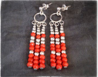 CORAL EARRINGS, NATURAL red Mediterranean coral, elegant classic red coral jewelry, nickel free sterling silver earrings, perfect gift
