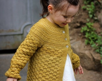 "Knitting Pattern ""Elisa"" cardigan (6 months to 14 yo)"