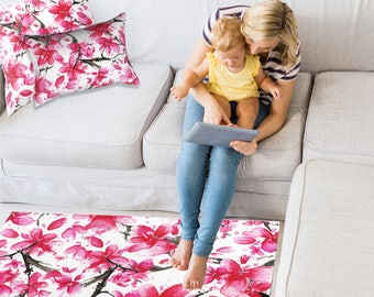 Pink Floor Rug - Cherry Blossom Design - Pink Area Rug,  3 Sizes:  2' x 3', 3' x 5', 4' x 6'