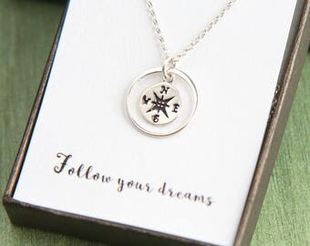 Sterling Silver Compass Necklace, Compass Graduation Necklace, Inspirational Necklace, Inspirational Gift, Graduation Gift, Back to school