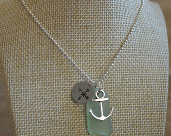 Sea Glass Necklace, Seaglass Necklace, Beach Necklace, Anchor Necklace, Beach Glass Necklace, Green Sea Glass Necklace, Silver Necklace