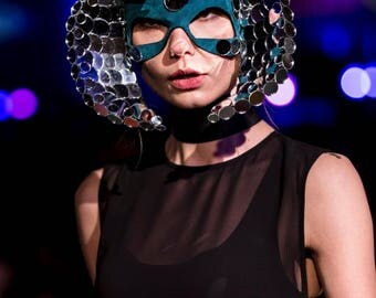 Masquerade Mask, Glass Horns Mask, Turquoise Headdress - Idol Luna