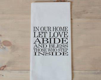 Spiritual towel etsy tea towel let love abide present housewarming gift hand towel bible negle Images