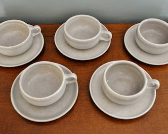 Russel Wright American Modern Granite Grey Cups and Saucers Set of 4 Steubenville