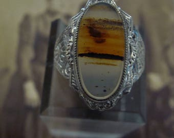 1920's Sterling Silver Banded Agate ring Size 7 1/4 Art Deco