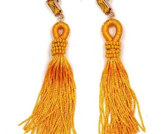 Marigold jeweled and tassel earrings