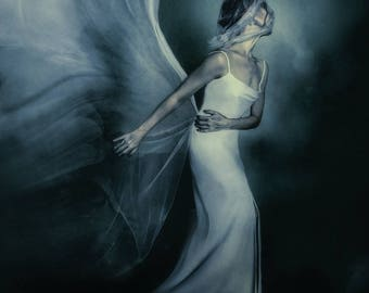 The Dispossessed--wall art, Gothic art, white gown, white veils, bride, fine art portrait, home decor, Gothic style, bridal veil, clouds
