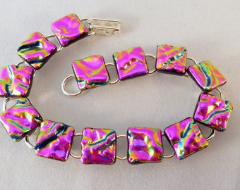 8 Inch Pink Dichroic Fused Glass Bracelet, 8 Inch, Fused Glass, Dichroic, Glass Bracelet, Dichroic Bracelet, Dichroic, Pink Bracelet, Pink