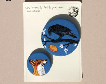 Pair the Raven and Fox brooches